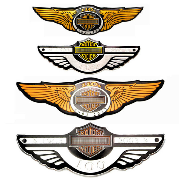 best selling Cool 3D car stickers Motorcycle metal personality badge car logo emblem 100 105 110 anniversary Auto Funny styling Decals For Yamaha harle