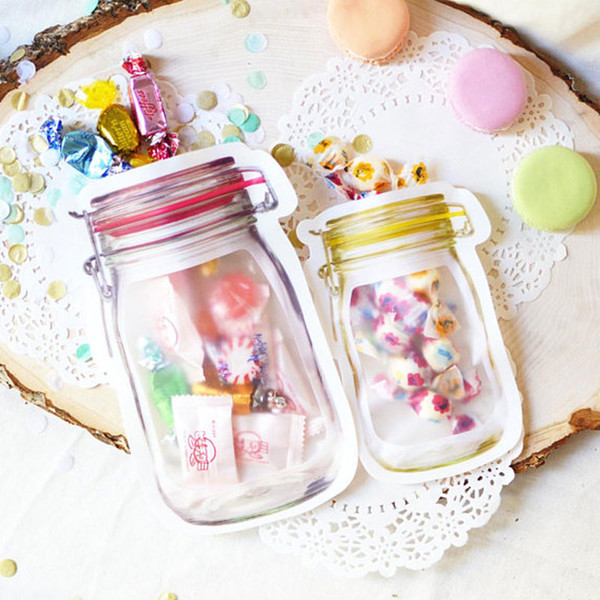 Clear Transparent Zip Lock Mason Jar Shaped Candy Bag Party Favors Gifts Bags Cookie Snacks Food Storage Resealable Plastic Box