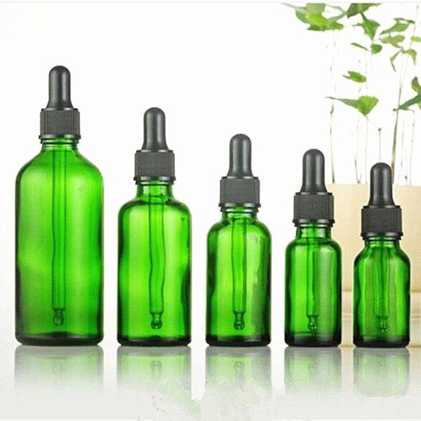 5 ml-100 ml botella de 30 ml de vidrio verde vacío botellas de aceite esencial cuentagotas con pegamento negro botella de gotero tapa de rosca de plástico