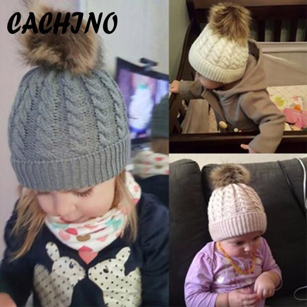 CACHINO Skullies Beanies Mom&Baby Boy Girls Pompon Winter Caps Warm Fur Pom Bobble Knit Beanie Hat Parenting Fleece Crochet