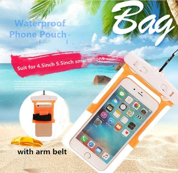 4Color Sport Running Waterproof PVC Bag Case Dry bags Protective universal Phone Bag Pouch with armband belt Diving Swimming For smart phone