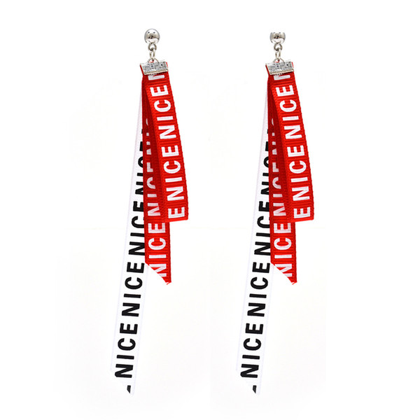 Korean Character English Letters Love Cloth Earrings Long Ribbon Simple Good-looking Ear Jewelry Earrings Fabric Tape Earrings