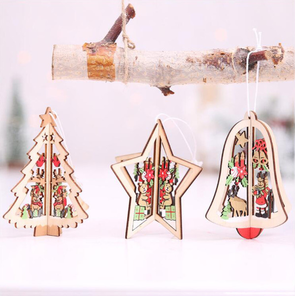 Interior de natal 3D Mini Árvore De Natal De Madeira Sino Estrela Decorações Bar Clube de Árvore De Natal Ornamento Opp pacote