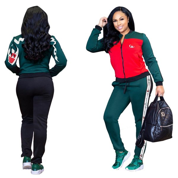 Großhandel Frauen Trainingsanzug Champions Jacke + Pants Joggers Set Reißverschluss Patchwork Brief Hoodie Mantel Top 2 Stück Sportbekleidung Herbst