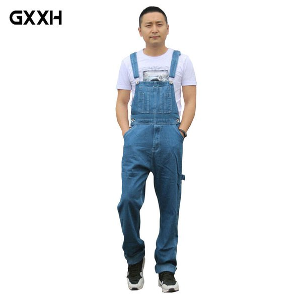 GXXH Hot 2018 Men's Plus Size Overalls Large Size Huge Denim Bib Pants Fashion Pocket Jumpsuits High Quality cowboy suspenders