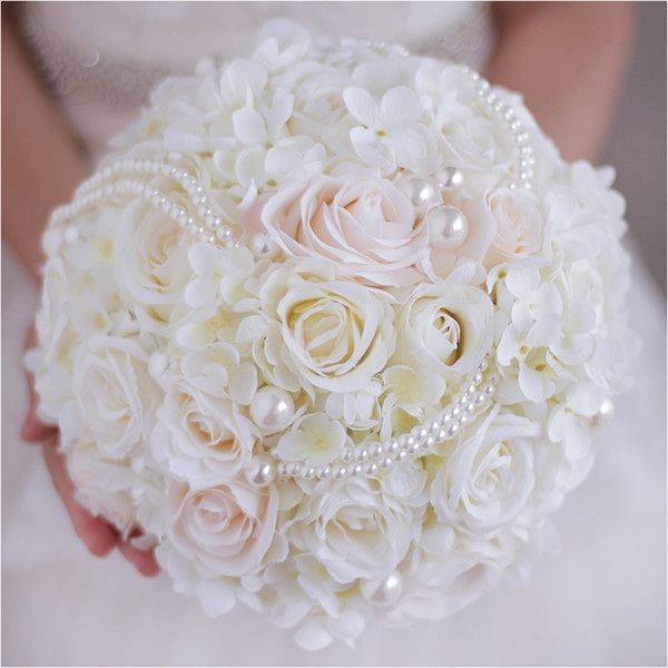 2018 Western Wedding Flowers Bridal Bouquets With Pearls Rose Bridal Bouquet White Handmade Artificial Brooch Bouquet For Brides