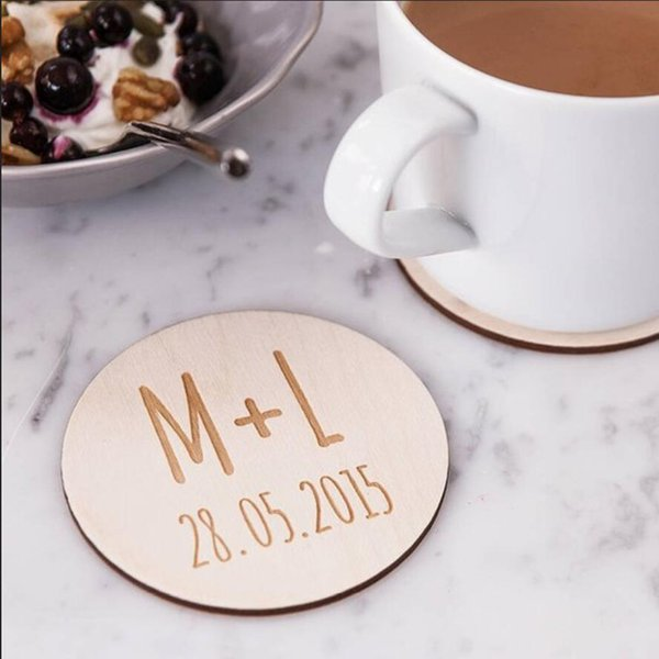 12pcs Personalized Wooden Wedding Coasters, Customized Coasters, Engraved Name Initials Wedding Party Wood Favors Supplies