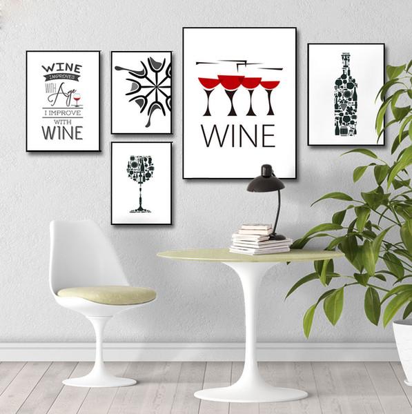 Style nordique Bouteille De Vin Coupe Image Sur Toile Minimaliste Mur Art Salon Décoration Peinture Sans Cadre Affiche