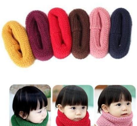 2018 Hot Selling Winter Neckerchief Women Children's Cotton Muffler Baby bib Warm Soft Boys Scarves Girls Knitted O Ring Scarf wholesale