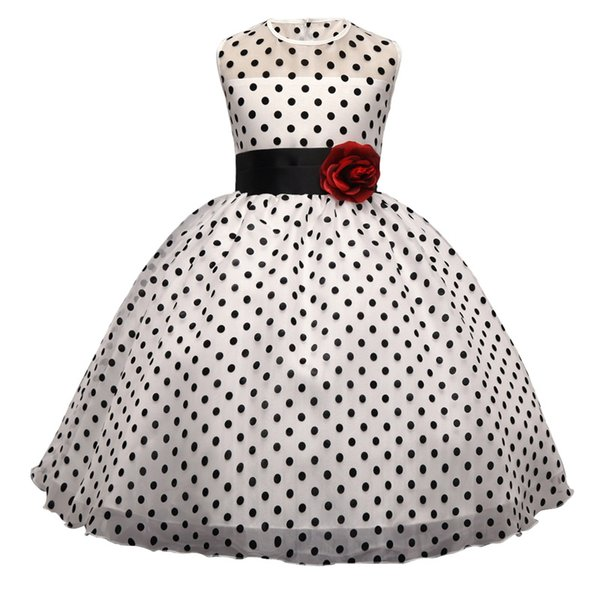 Summer Girl's Elegant Dresses Vintage Polka Dot Princess Dress Kids Prom Gowns Tutu Vestidos Children Sleeveless Clothing