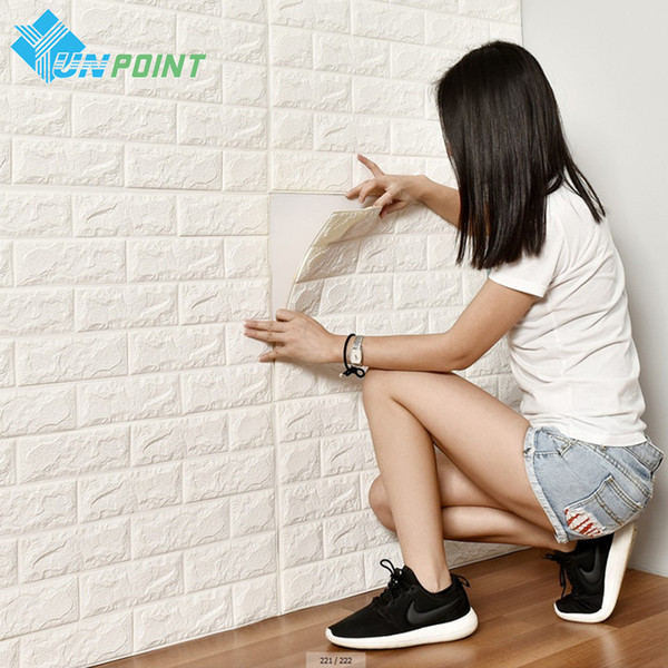 PE Foam 3D Wall Stickers Safty Home Decor White Wall paper Roll DIY Decor Brick Living Room Kids Bedroom Decorative Sticker