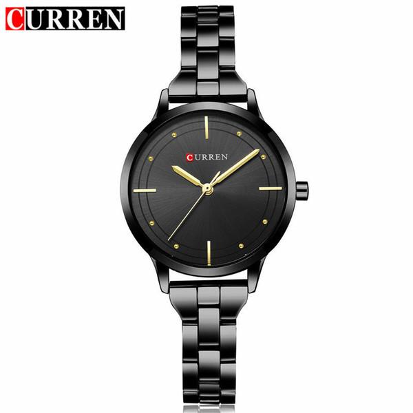 Curren Brand Luxury Black Stainless Steel Bracelet Style Women Quartz Watch Fashion Dress Ladies Watches Gifts Relogio Feminino Y1890304