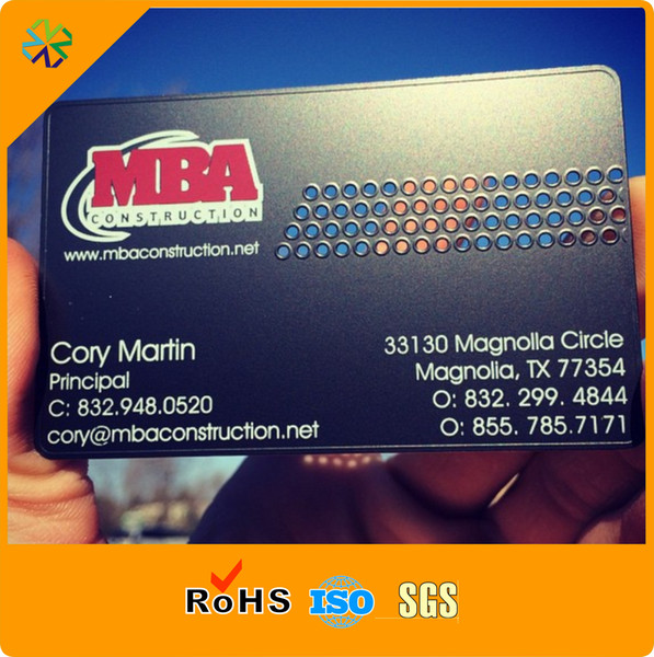 Cheap price Stainless Steel credit card size printed metal card for business laser out black metal vip business cards