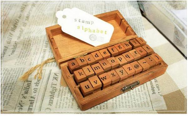 Vintage Holz Kleinbuchstaben Alphabet Buchstaben Stempel Siegel Set Retro Vintage Handwerk Holzkiste Alphabet # DXC46