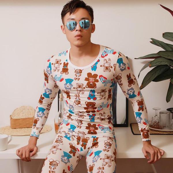 lungo johns cotone uomo Moda leggings suit Home senza vestiti Pouch stretto Sleep winter girocollo stampato sexy
