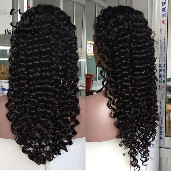 180% density natural color vigin brazilian hair loose deep wave full lace wig for black women pineapple wave front lace wig 26 inch