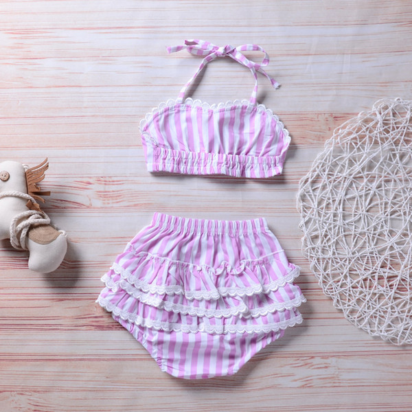 2018 Summer Hot Sell Baby girls Striped Swimsuit Kids Bikini Swimwear girls Bikinis children Clothing Free Shipping
