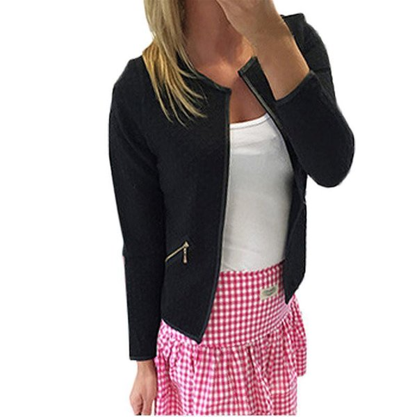 2018 Woman Jacket Spring Coat Short Jackets Casual Slim Blazers Suit Cardigans Female Outwear Black White Zipper Pocket S930