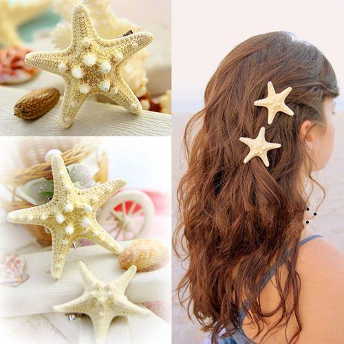 10pcs /lot Women bridal bridesmaid Girls New Nice Beach Hair Accessory Starfish Sea Star Hair bohemian beach Clip Hairpin Jewelry