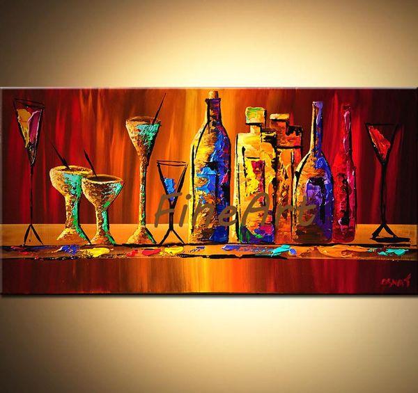 dipinto a mano palette spatola con texture still life pittura a olio bottiglia di vino e bicchieri pittura a olio di arte contemporanea pittura sconto muro