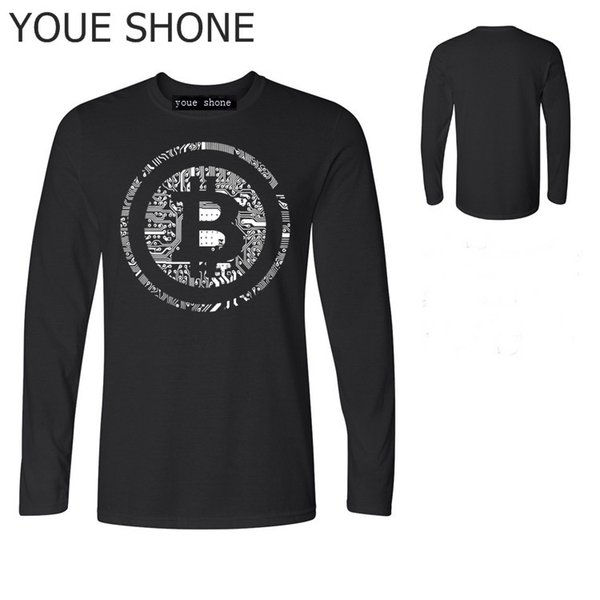 Men T Shirts Bitcoin Cryptocurrency Cyber Currency Financial Revolution T-Shirt Plain Youth Round Collar long sleeve Tee polo T-Shirts