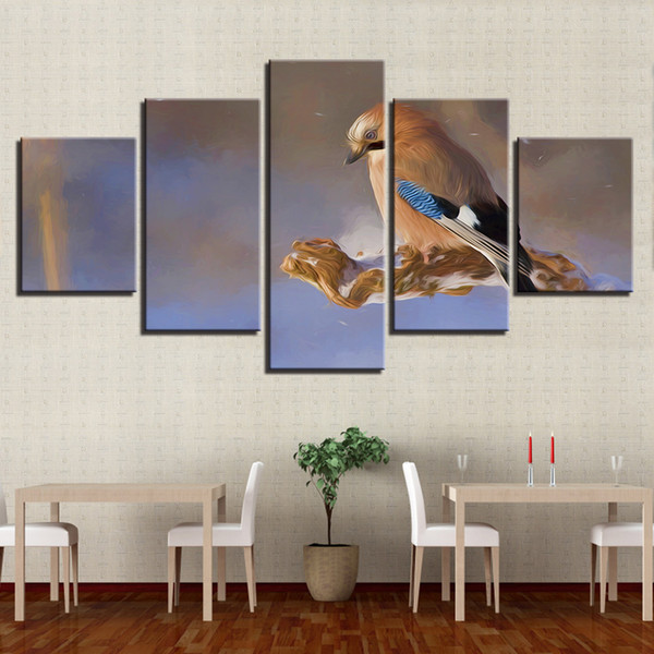 Living Room Wall Art 5 Panel Animal Sparrow Bird Scenery Painting Modular Abstract Poster Home Decor Canvas Print Pictures Frame