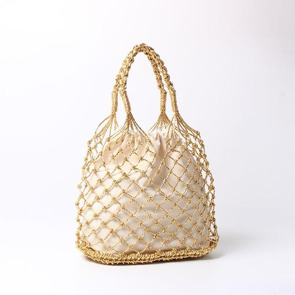 Ouro, prata 2 cores brilhantes cordas de papel tecido oco saco de algodão forro saco de palha feminino reticulado bolsa compensada saco de praia Y18102203