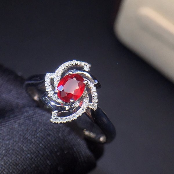 Fine Jewelry 18K White Gold Real Natural AIGS Pigeon Blood Red Ruby Diamond Wedding Engagement Female Rings for Women Fine Ring