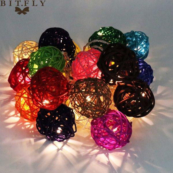 Bitfly 20 Led 250 cm Blanco Cálido Bola de Ratán Led Cadena Luces de Hadas Iluminación Para la Boda de Navidad Decoración Decoración a Batería