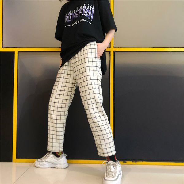 Women's Clothing New Korea harajuku ulzzang vintage Plaid Straight Pants Ankle-Length hipster couple clothes loose Capris