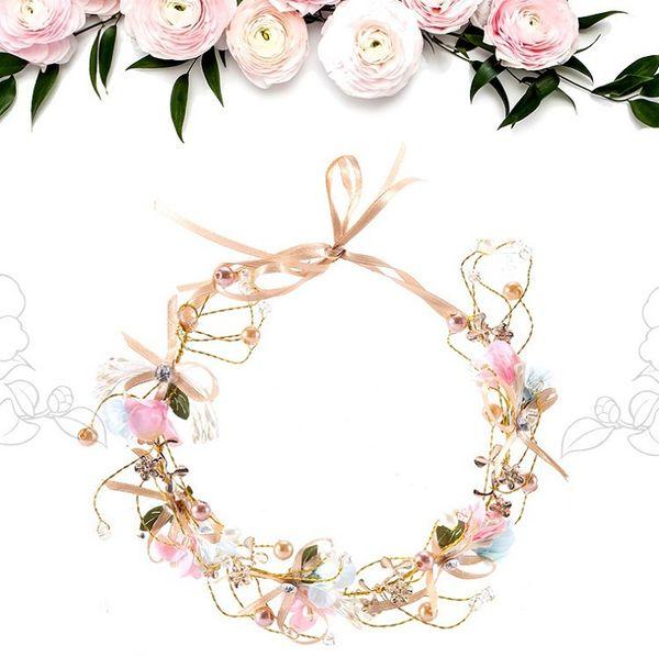 Korean Bridesmaid Children's Wedding Wreath Bride Party Jewelry Handmade Bow Flower Headdress Bridal Wreaths Headband H0157-1
