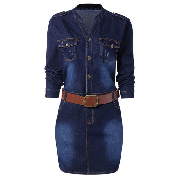 Wipalo Plus La Taille 5XL Ajusté Denim Jean Dress Avec Ceinture Femmes Gaine Stand Col Long Manches Robes Vestidos Causal Dress
