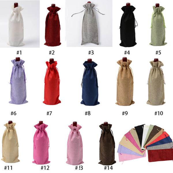 Red Wine Bottle Bag Cover Champagne Pouch Linen Cotton Home Decoration Party Supplies Xmas Decor 14 Colors