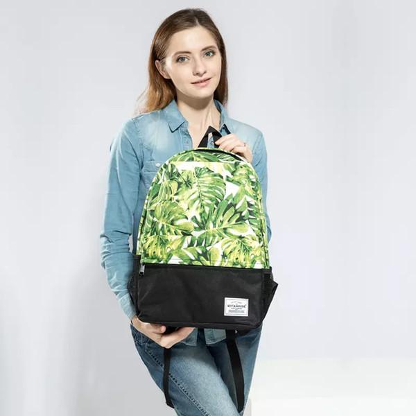 Women Backpacks For Teenage Girls Fashion Leaves Printing Backpack Casual Ladies Daypack Retro School Bag Travel Bags