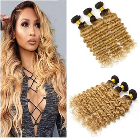 Indian Virgin Human Hair Strawberry Blonde Weave Bundles 3Pcs Deep Wave 1B/27 Honey BLonde Ombre Virgin Human Hair Wefts Extensions