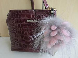 Real Best Rex Rabbit Fur and Best Silver Fox pineapple flowers Bag decorations/ Car decorations/ key chains/multicolored