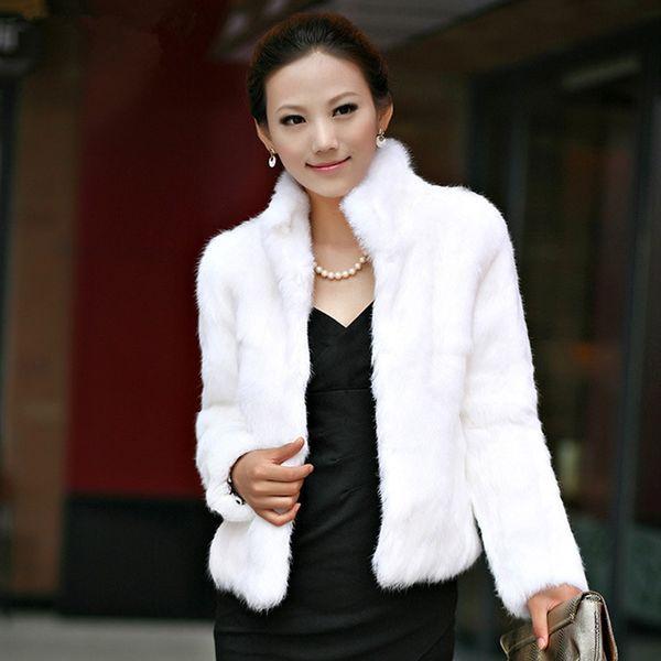 Winter Womens Luxury Kaninchen Pelzmantel Dicke Warme Kunstpelz Jacke Langarm Damen Flauschigen Mantel Weiß Schwarz Weibliche Oberbekleidung A4