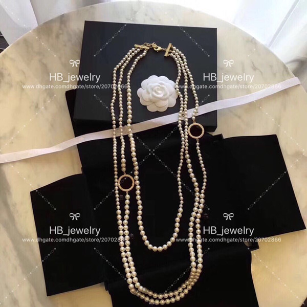 Popular fashion brand High version Pearl Sweater chain for lady Design Women Party Wedding Luxury Jewelry for Bride with BOX.