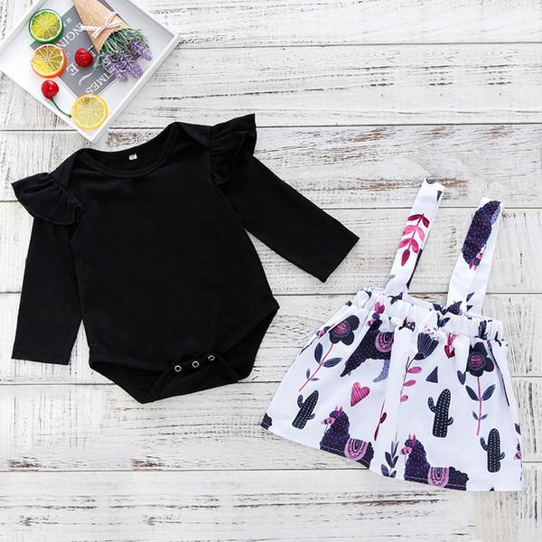 Новорожденных девочек комбинезон+Подтяжк брюки наряды осень 2018 Baby Boutique одежда евро Америка младенческой малышей с длинными рукавами 2 шт. набор