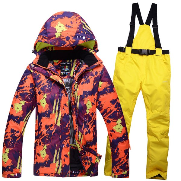 Free Shipping 2018 Men + women Suit Outdoors Waterproof South Double Single Doard Long Black Ski Suit,Ski Jacket+Snowboard Pant