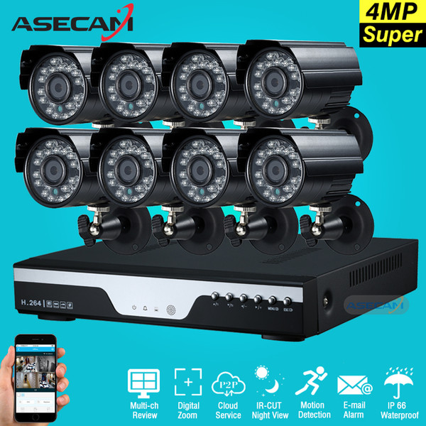 Super 4MP HD 8 Channel Surveillance Home Black small Metal  Security Camera H.264 DVR Kit Outdoor 8CH CCTV System Kit