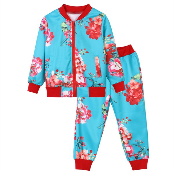 causal girl set cute beauty flowers European style floral tops pants set for 3-12years girls kids children cool outerwear clothing set