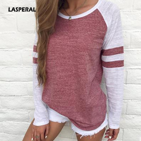 Wholesale-LASPERAL Autumn Women Striped Splicing Baseball T-Shirt 2017 Fashion O Neck Long Sleeve Top Tee All Matched Sleeve T Shirt S-5XL