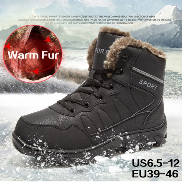 7a52768c16f Mens Snow Boots Winter Waterproof Hiking Boot Warm Fur Lined Ankle Booties  Hunting Boot For Men Treekking Hiking Shoes Non Slip Rubber Sole Mens ...