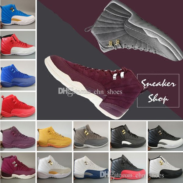 Hot Latest Classical 12 Bordeaux Dark Grey basketball shoes black white Flu Game Gym red taxi gamma french blue Suede sneakers