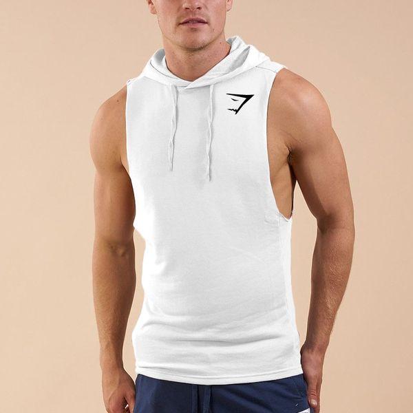 Mode Herren Fitness Sweatshirts 2018 Kordelzug Slim Fit Fitted Sommer Männer Sleeveless Solide Tank Top Hoodie