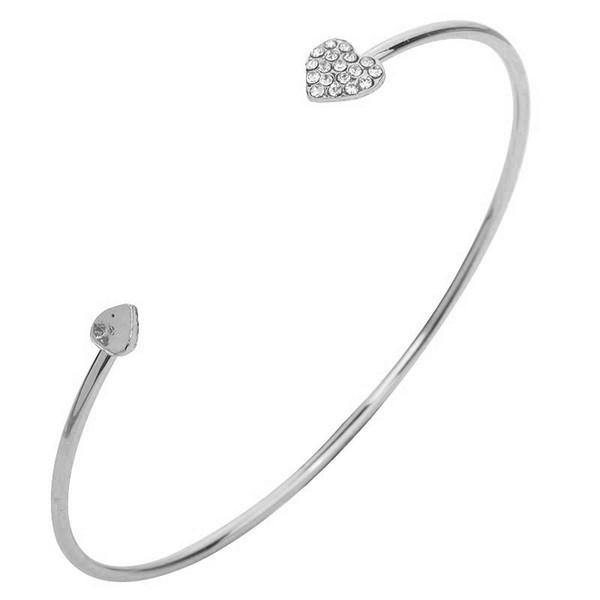 2018 Hot New Fashion Adjustable Crystal Hologram Bracelets Women Jewelry Double Heart Bow Bilezik Opening Mujer Pulseras