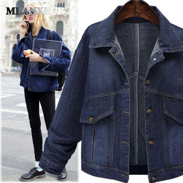 Casual plus size denim jackets winter womens in women's parkas turn-down collar full sleeves pockets jackets coats woman winter