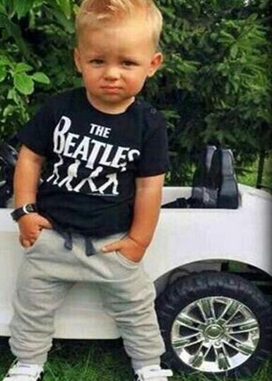 Baby Boy clothes 2pcs Short Sleeve T-shirt Tops +Pants Outfit Clothing Set Suit with The band printed