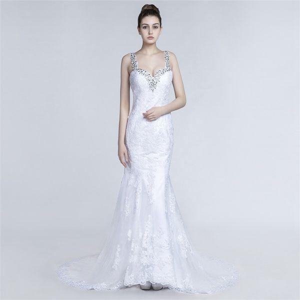 2018 high quality A-line Wedding dress and spaghetti train mariage dress robe de mariee Bride wedding dress 3001409
